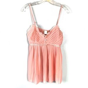San Joy Pink Lace Pleated Top Size L